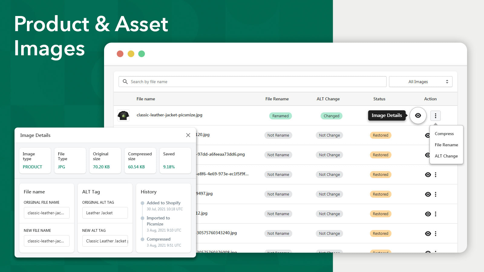 store's asset images to optimize