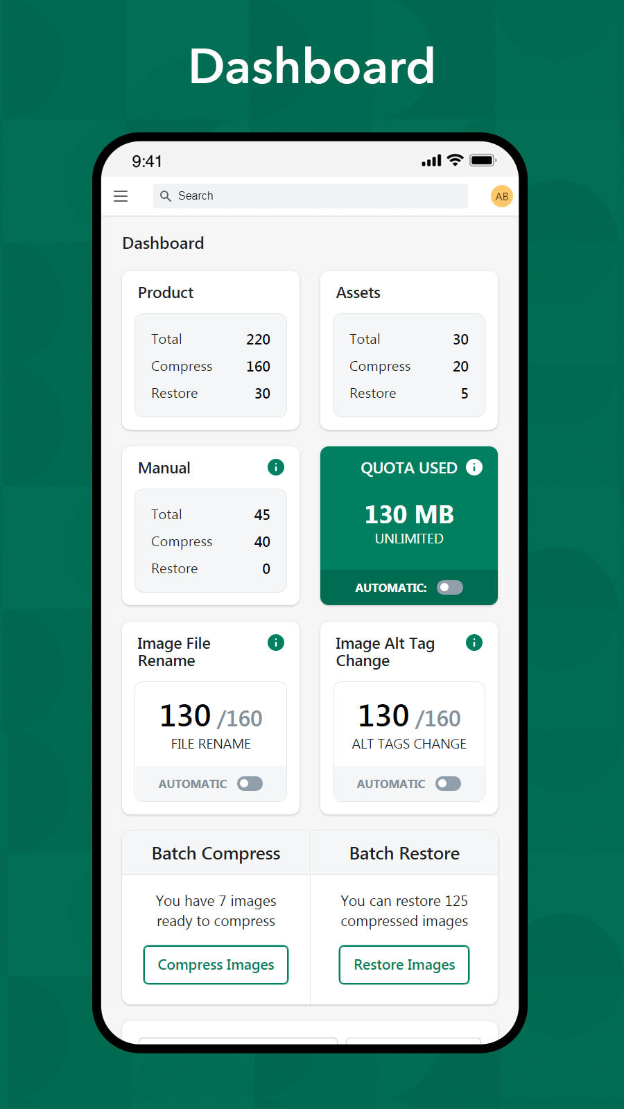 mobile responsive dashboard with possible analytics