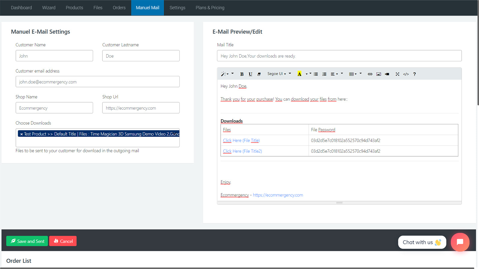 You can also manually send your files to your customers
