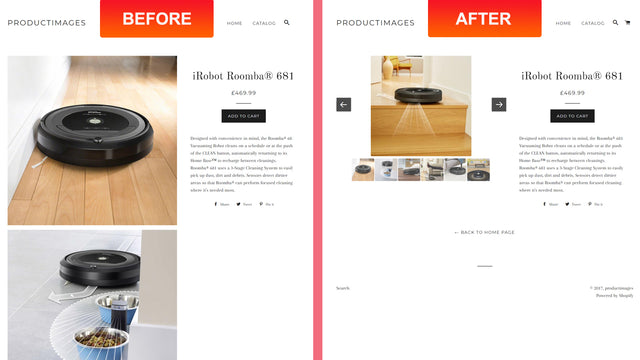 Product image slider - without our app and with our app
