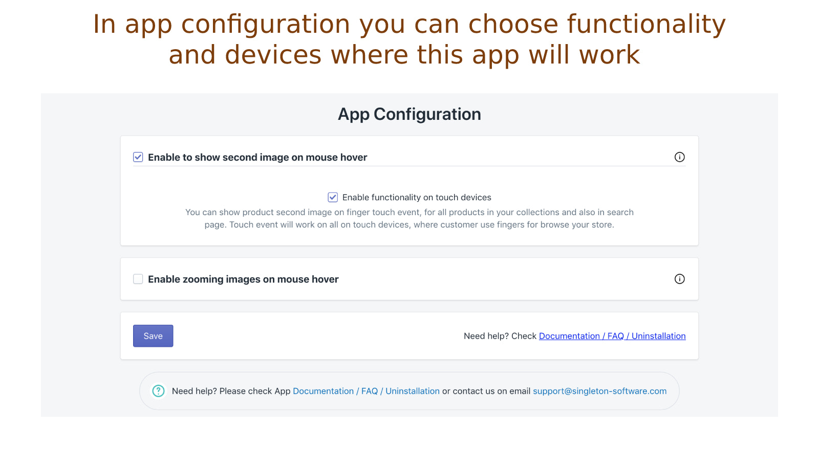 In app configuration, you can choose devices where app will work