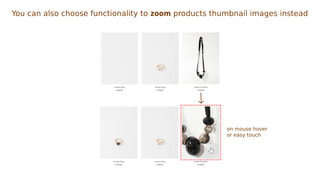 Display zoom of product thumbnail image on mouse hover or touch