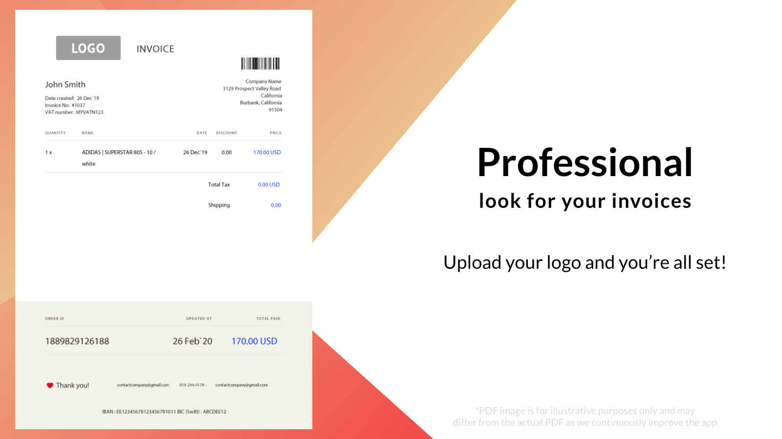PDF Generator –professional looking invoices / receipts