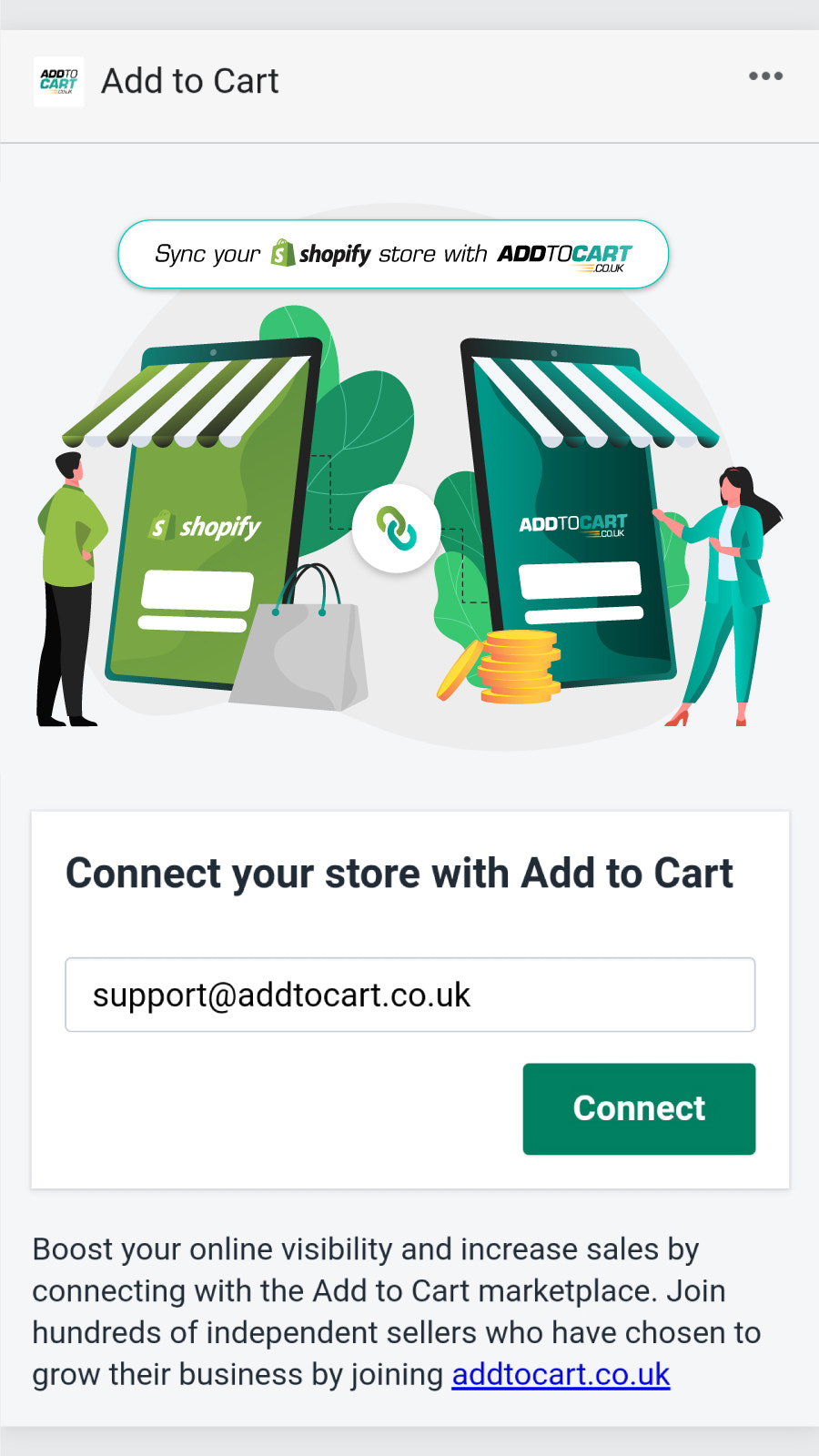 Connect with Add to Cart