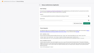 Client settings page in backend