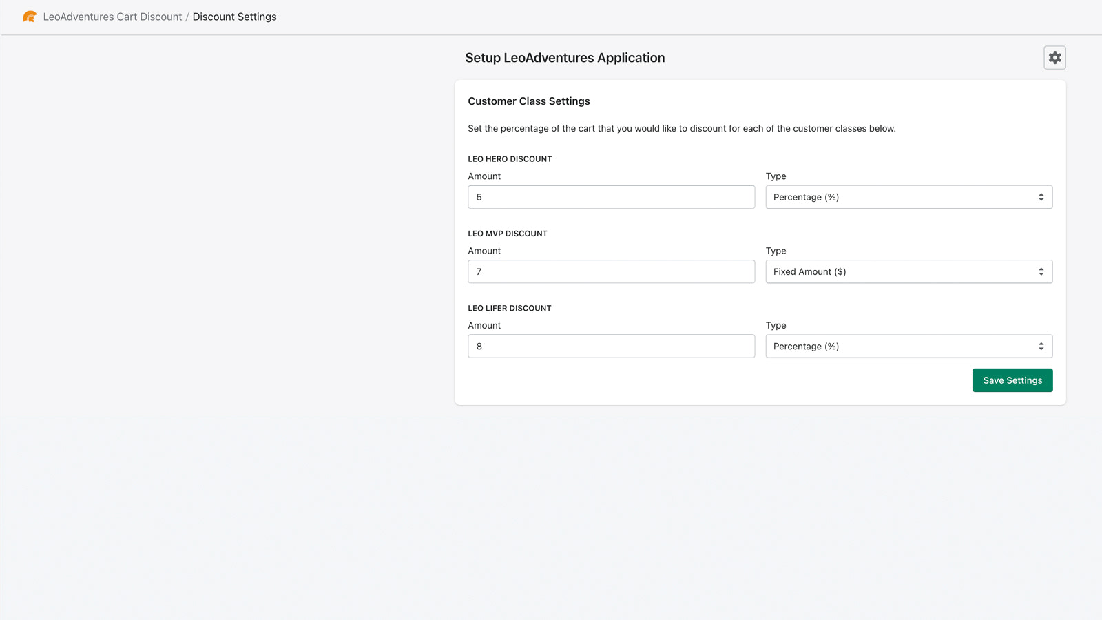 Discount settings page in backend