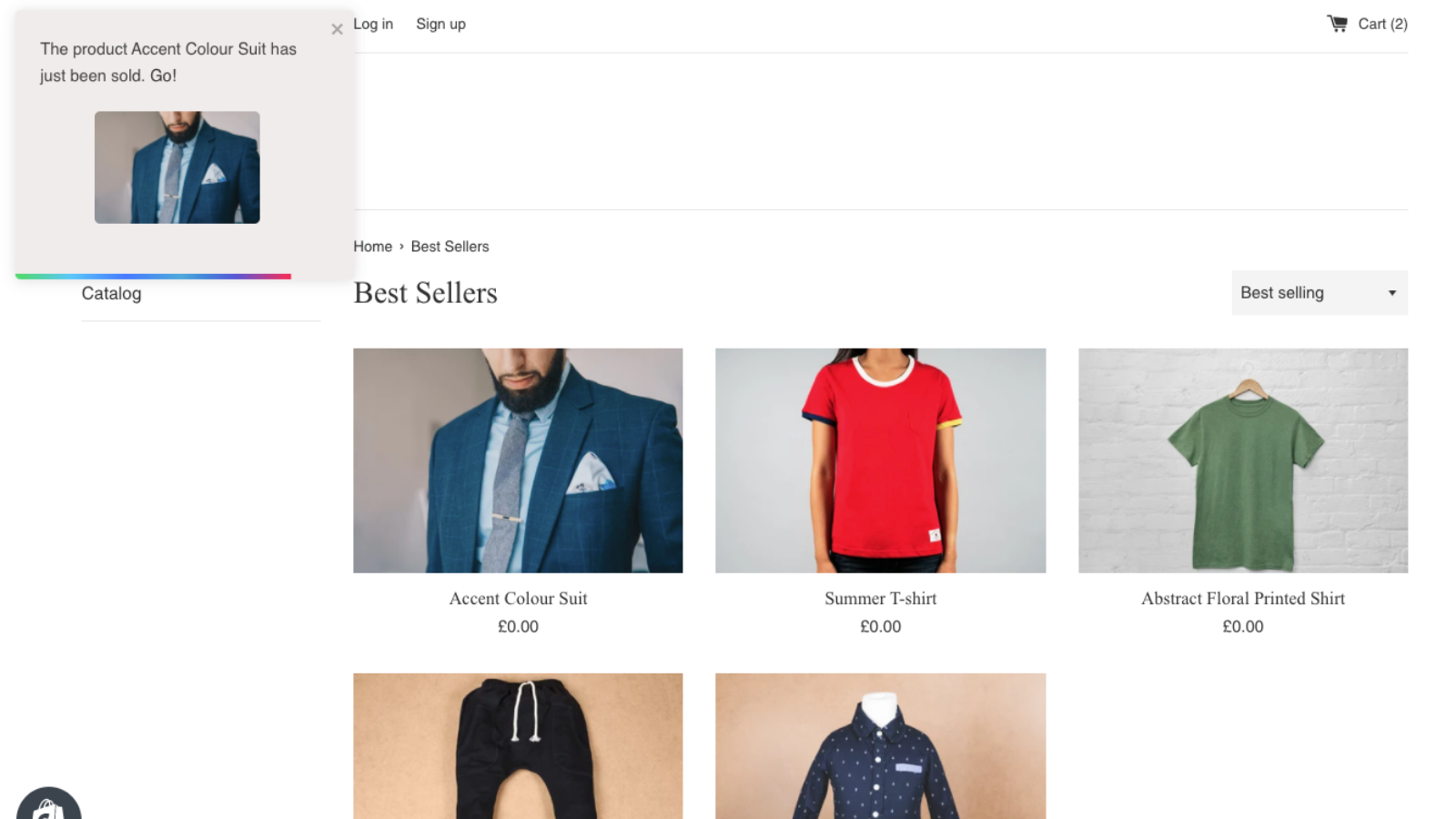 Site wide just sold notification