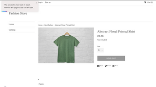 Product page back in stock notification