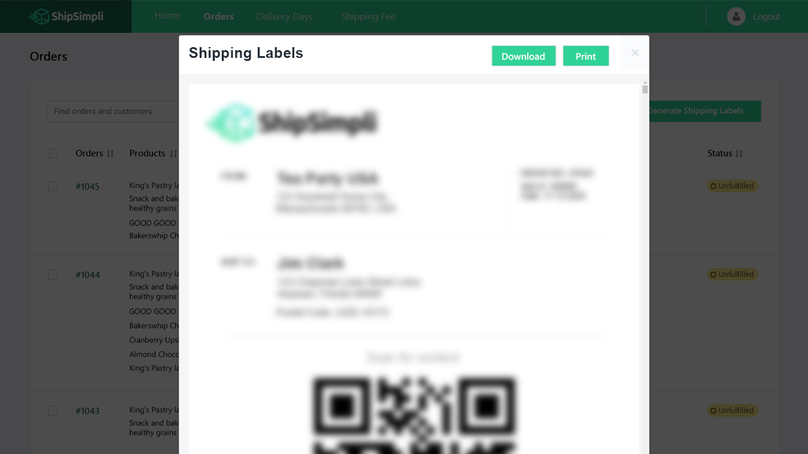 Generate QR code and shipping labels.