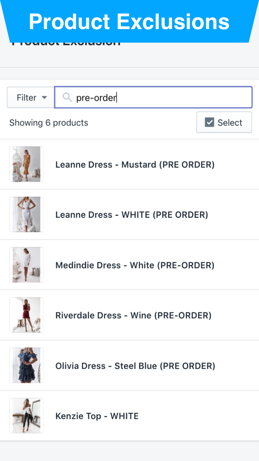 Product Exclusions