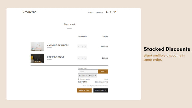 Stack discount on cart page