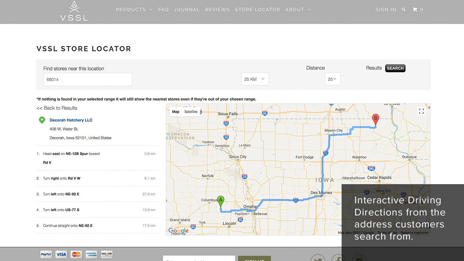 Interactive driving directions