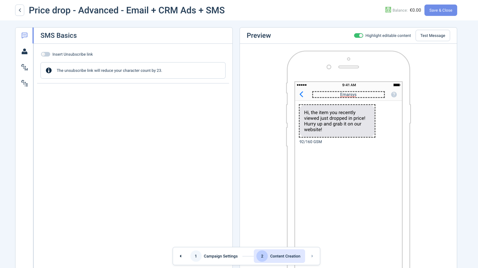 Integrated SMS Editor