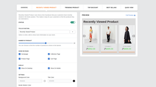 RECENTLY VIEWED PRODUCT DASHBOARD - RECOMMENDED PRODUCTS