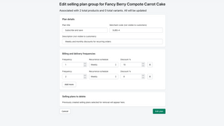 Editing an existing selling plan group