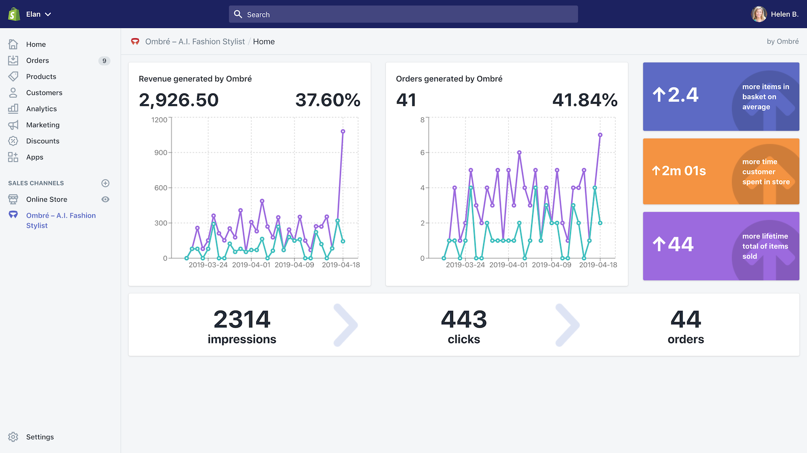 Shop staff can see the analytics of Ombré app on their stores.