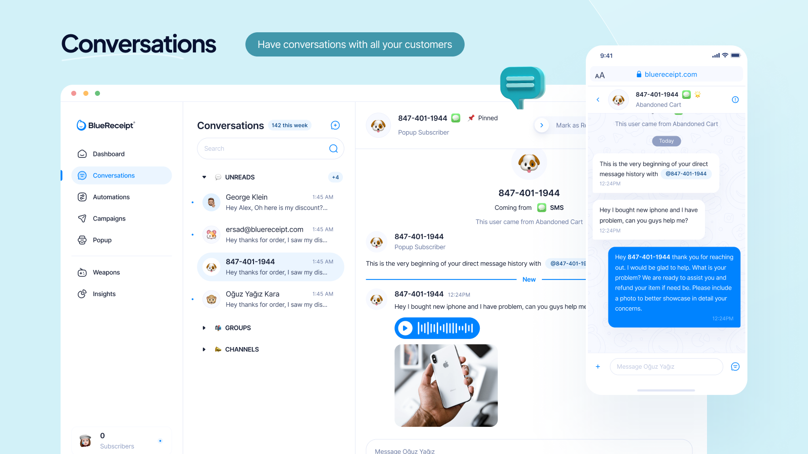 Conversions 1:1 across all channels (text, email, instagram)