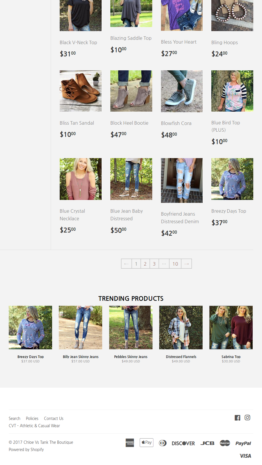 Mobile responsive trending products