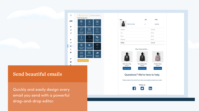 Design beautiful emails with our drag and drop visual editor