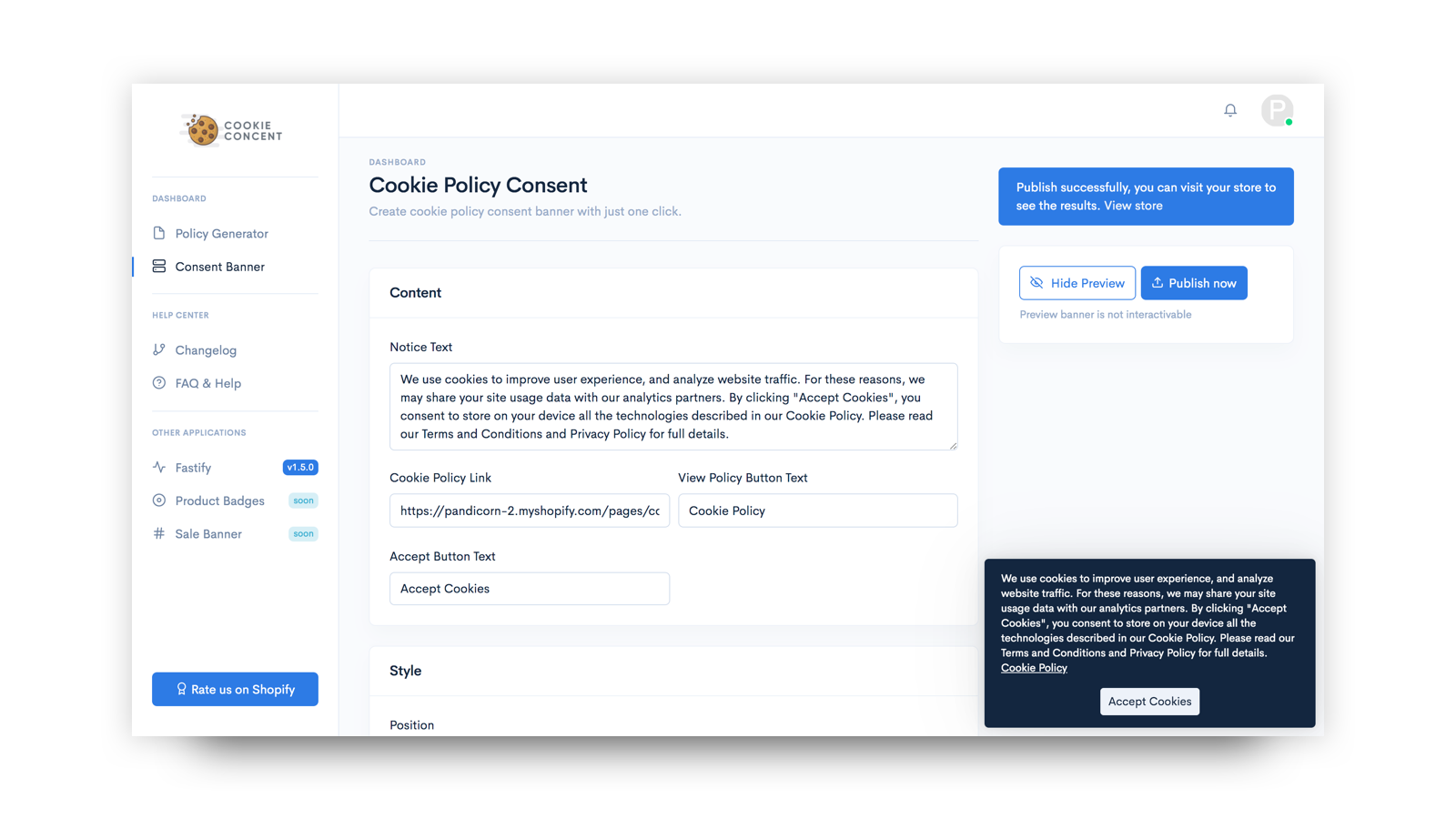 Cookie Policy Page Generator