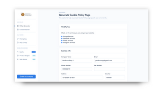 Cookie Policy Concent Banner Generator