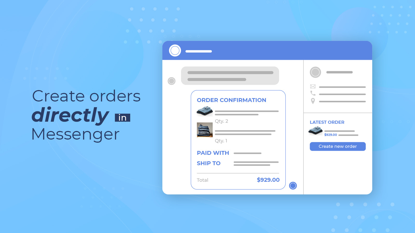 Create orders directly in chat box