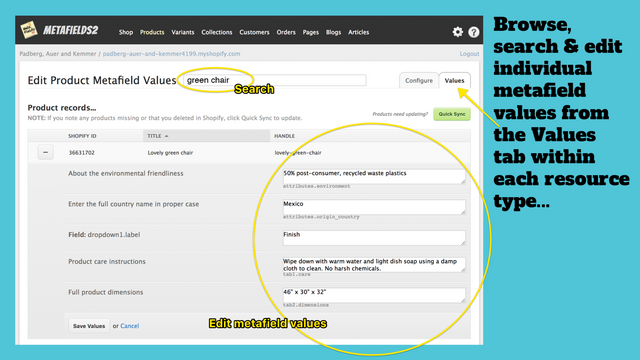Browse, search & edit individual metafield values