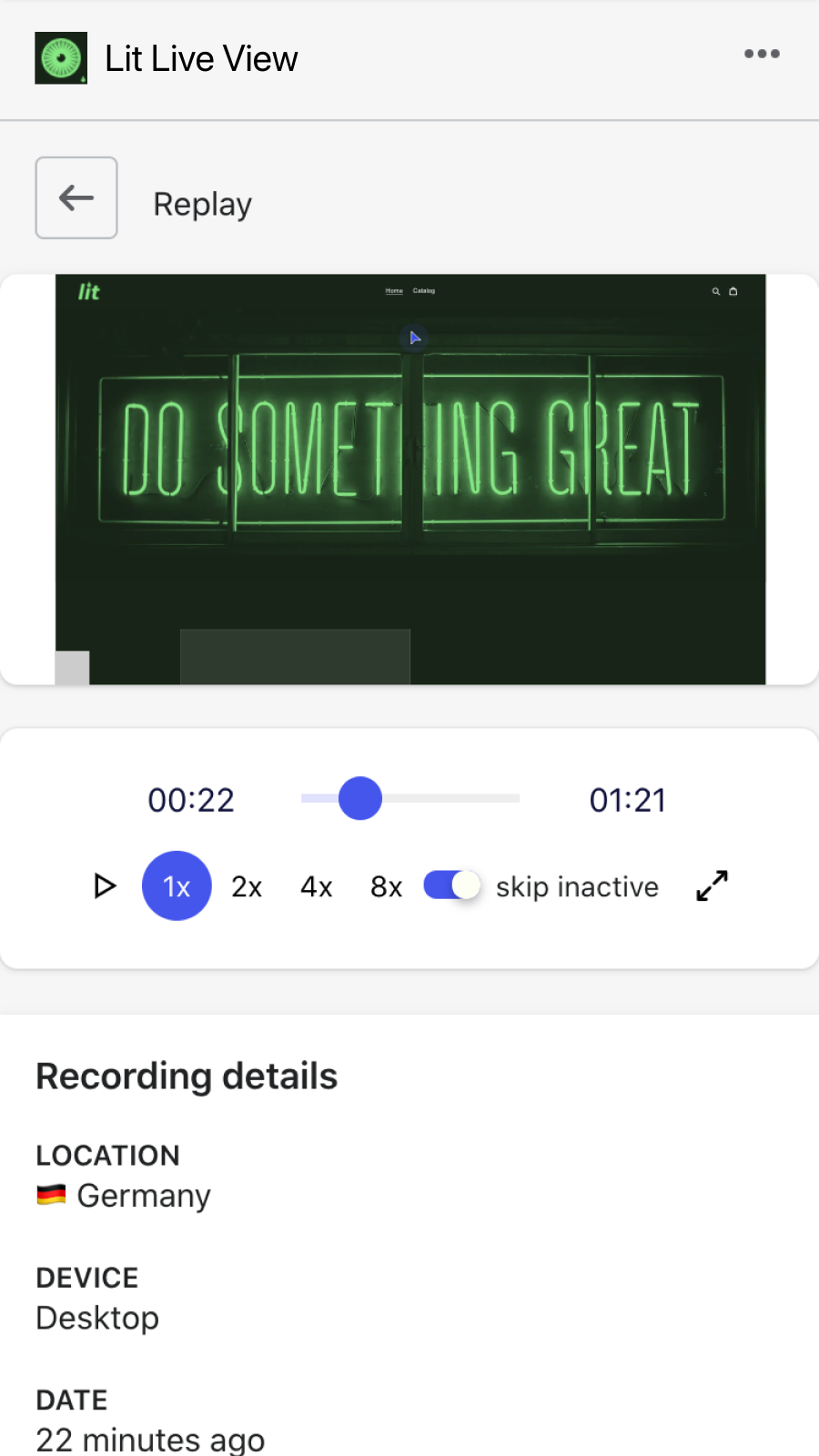 Replay recordings of live user sessions on your store
