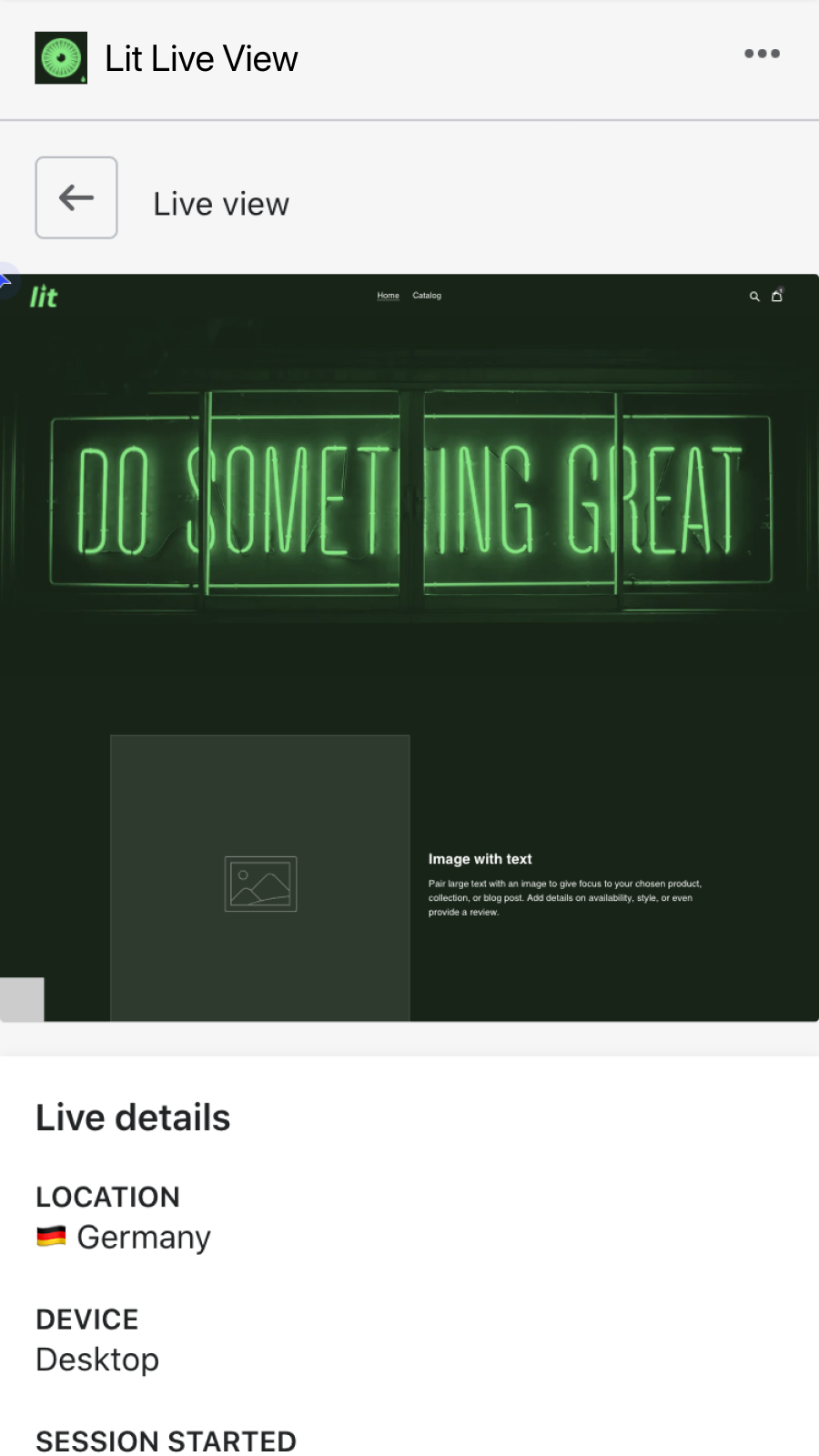 Observe user sessions live in real time