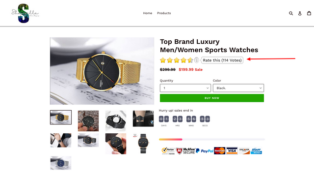 RatingWidget Shopify App Product Listing Preview