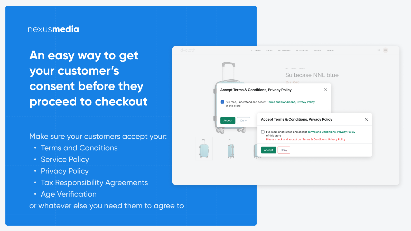 Terms and conditions checkbox for product pages