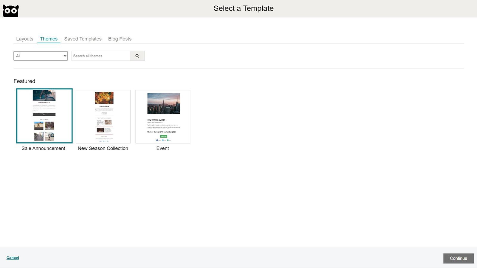 Select Template (Themes)