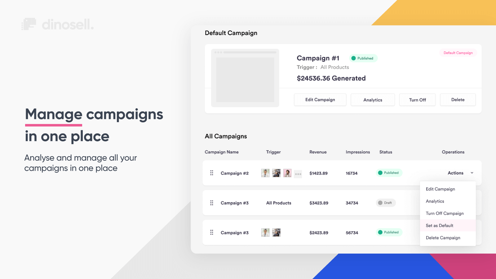 Manage all post purchase upsell campaigns in one place