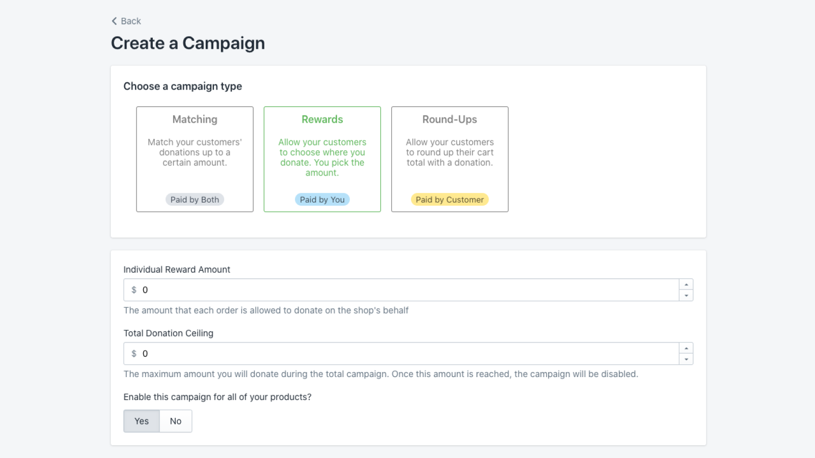 Admin View - Create Giving Campaigns
