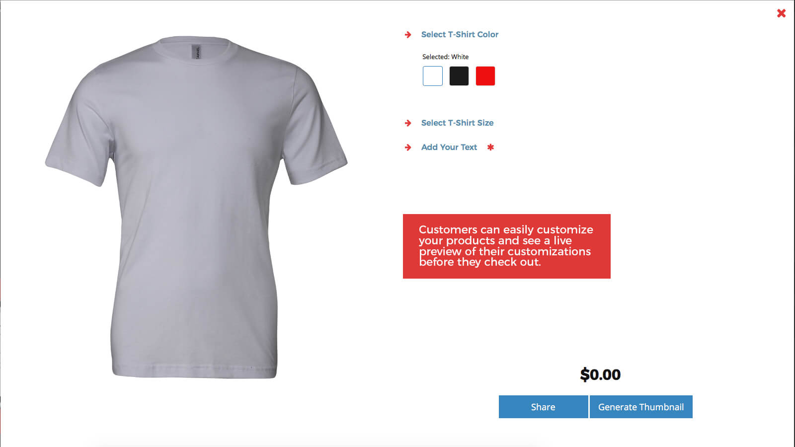 Customers see a live preview as they personalize their products.