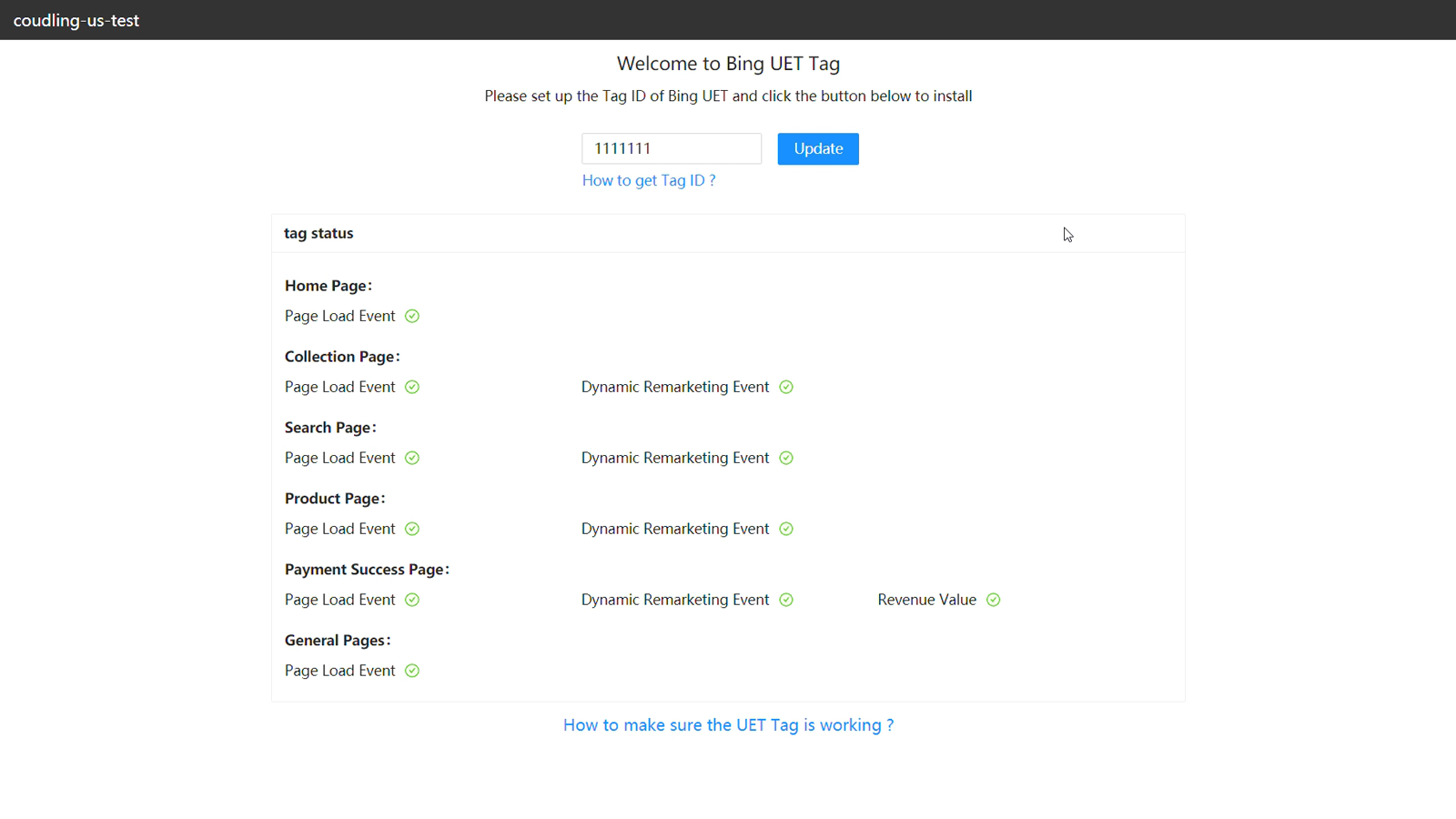 UET Tag has been installed