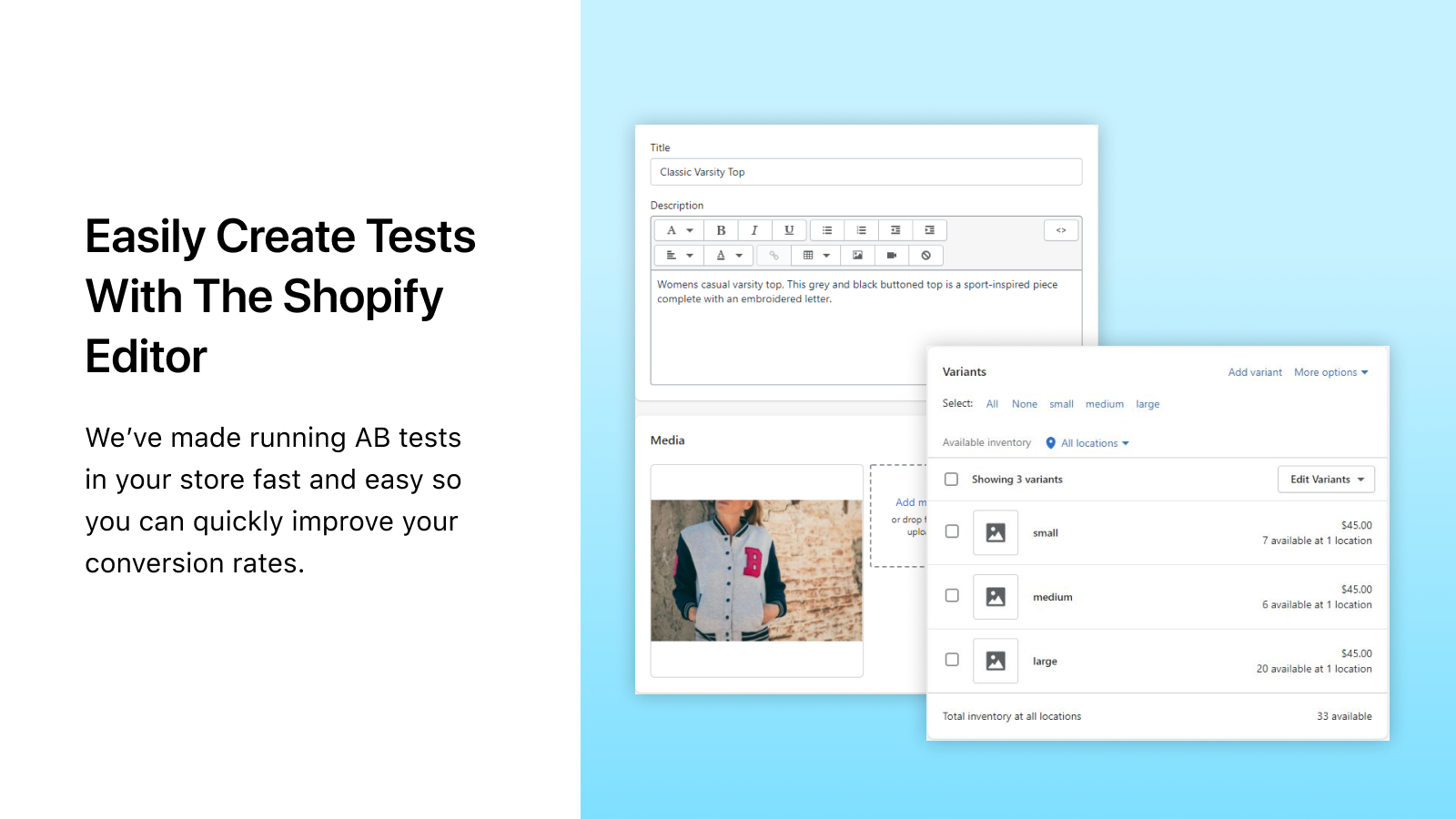 Make Tests through the Shopify editor