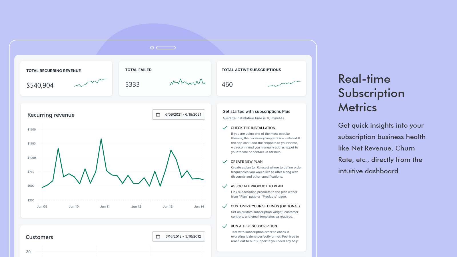 Real-time subscription metrics - Subscription products