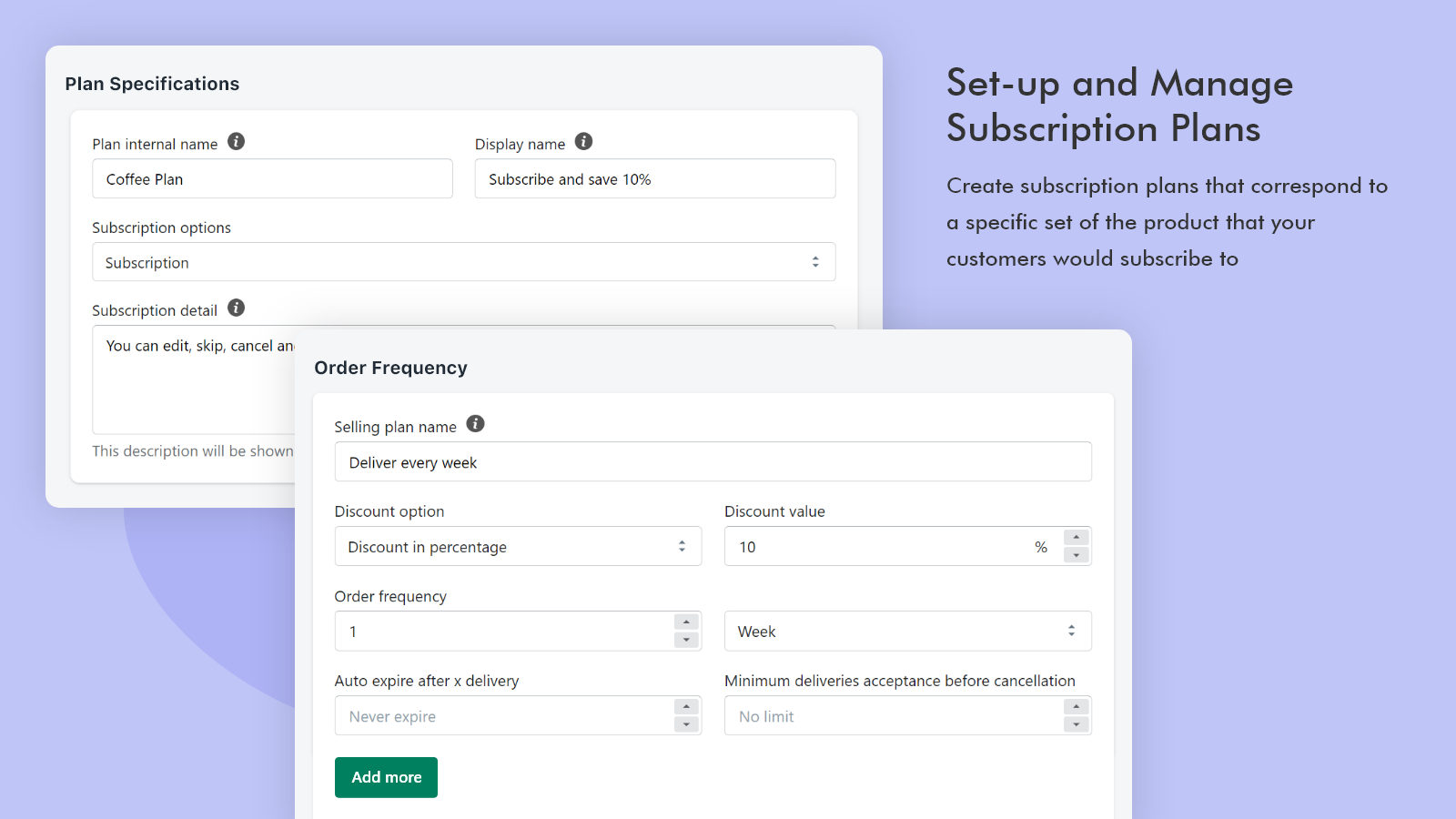 Set-up and manage subscription plans - Recurring payments