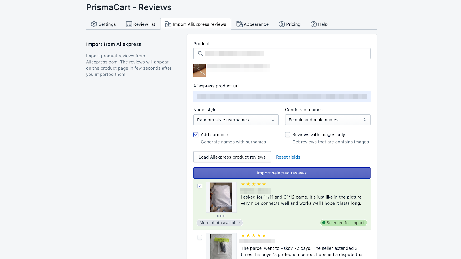 Admin page - Import Aliexpress reviews