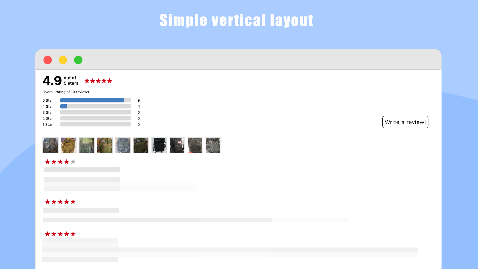 Simple vertical layout