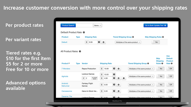 Better Shipping per product variant tiered rates advanced rules