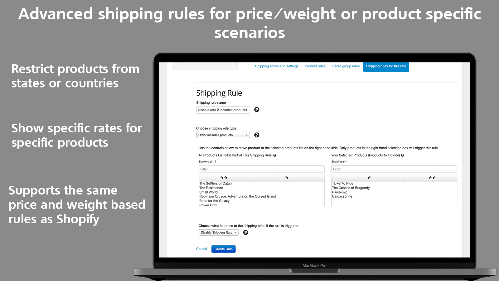 Better Shipping advanced shipping rules restrict product country