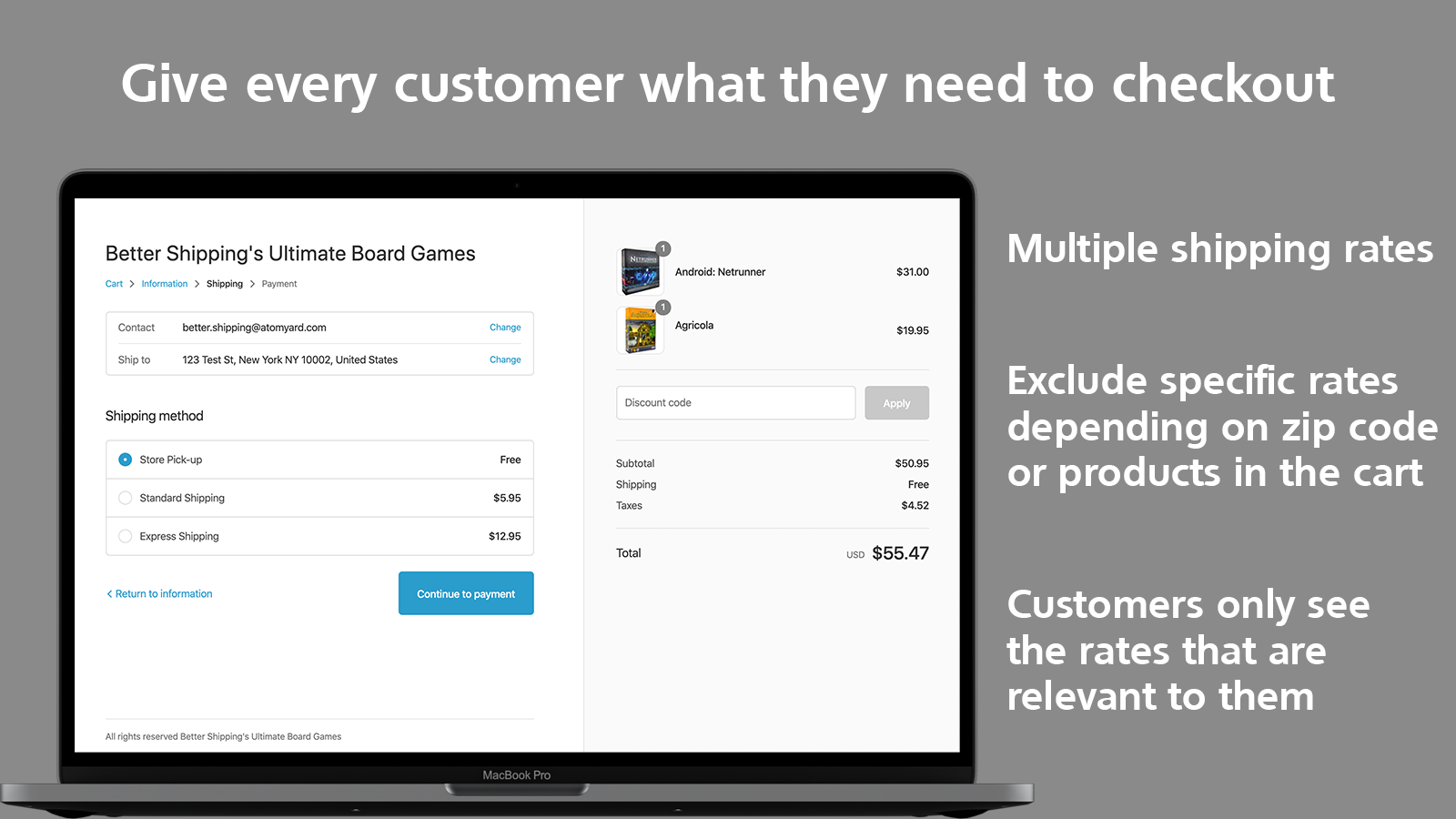 Better Shipping multiple rates specific product restriction
