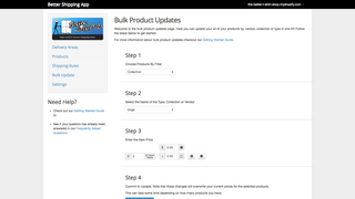 Better Shipping Bulk Update Shipping Prices By Product Collectio