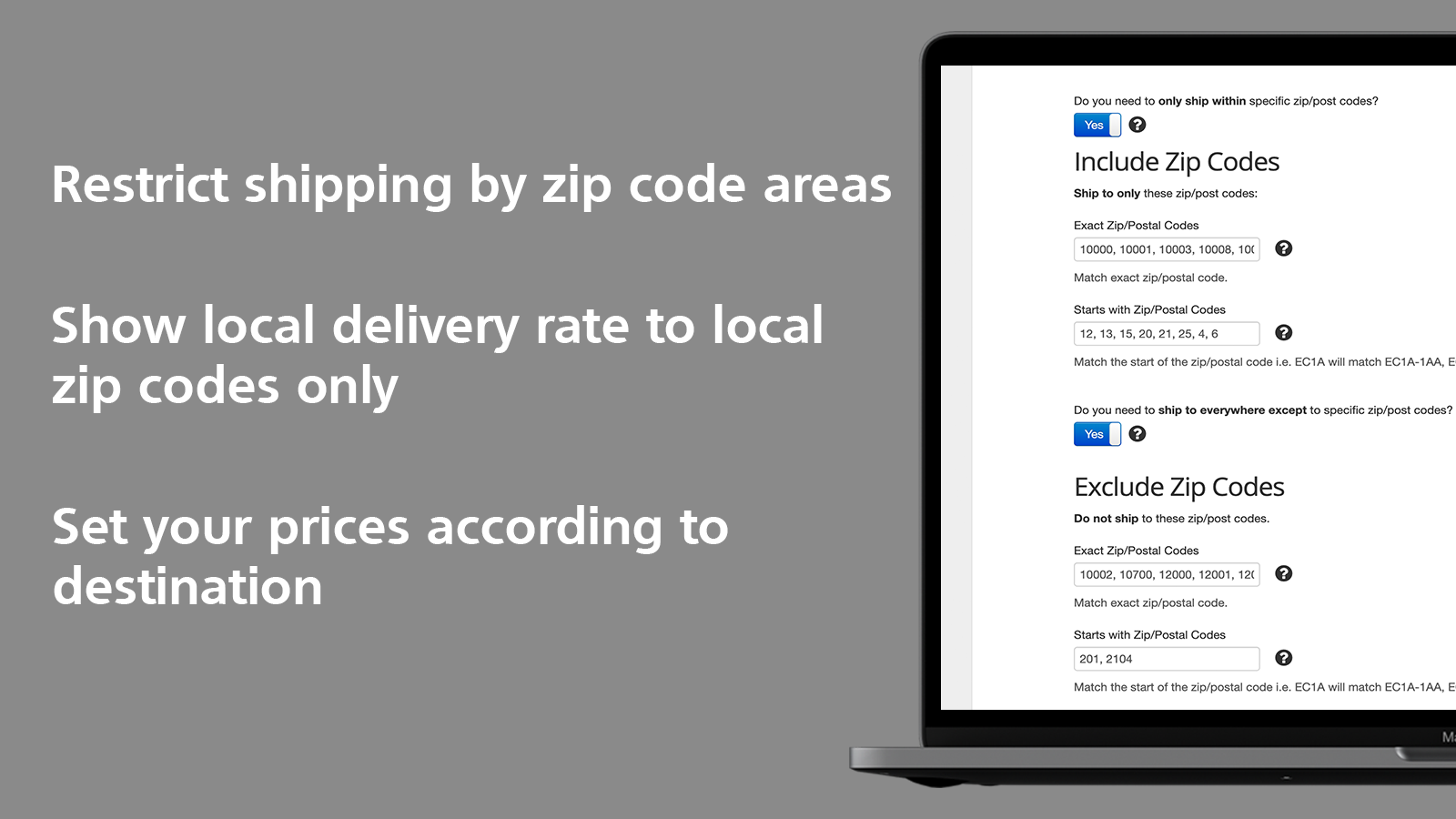 Better Shipping restrict zip code local delivery multi location