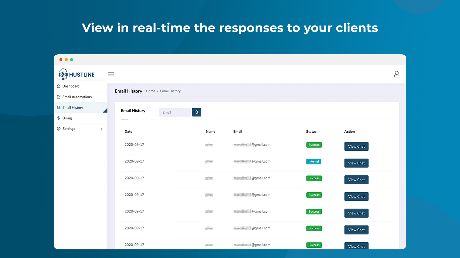 View in real-time the responses to your clients