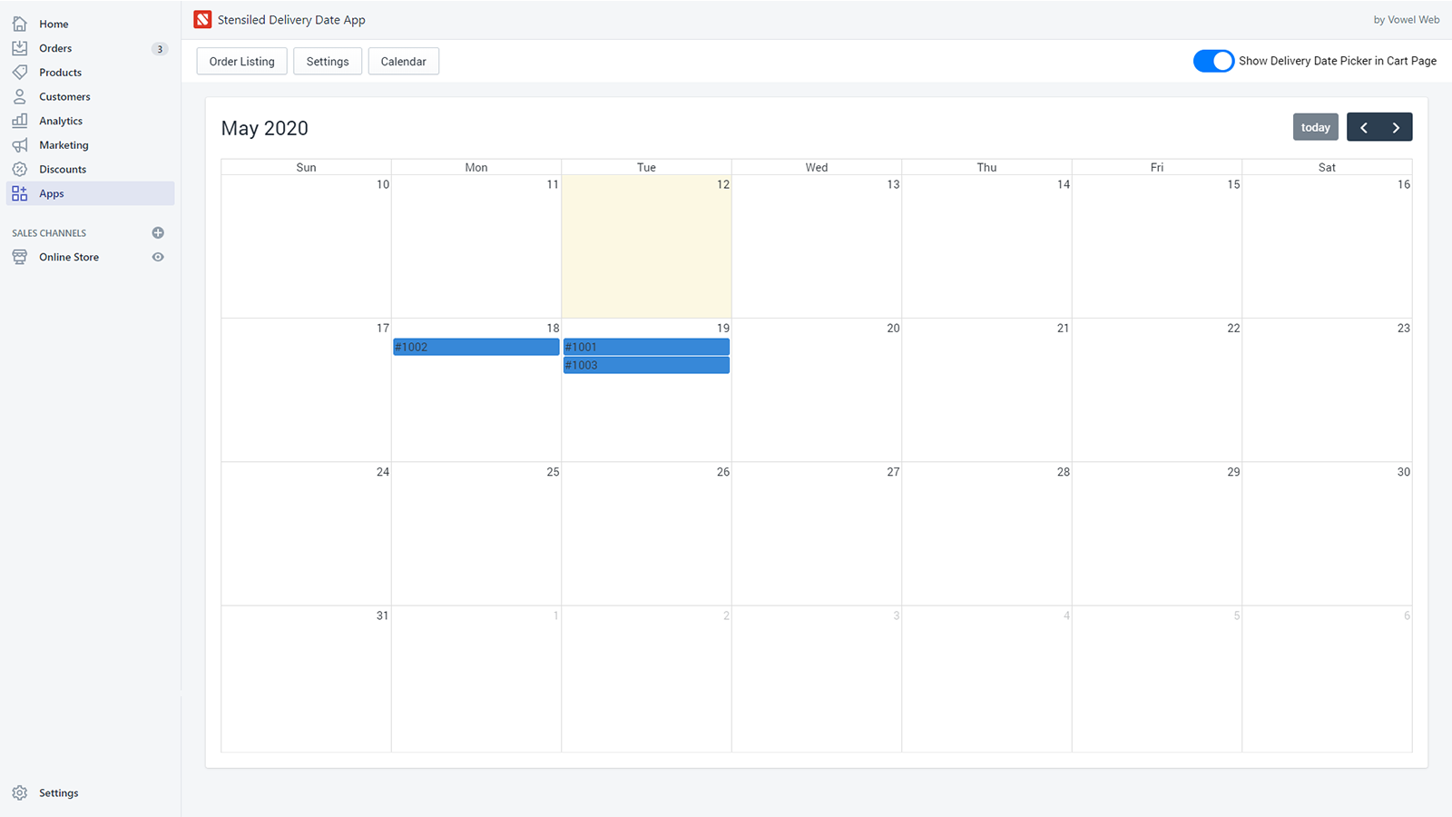 calender order view