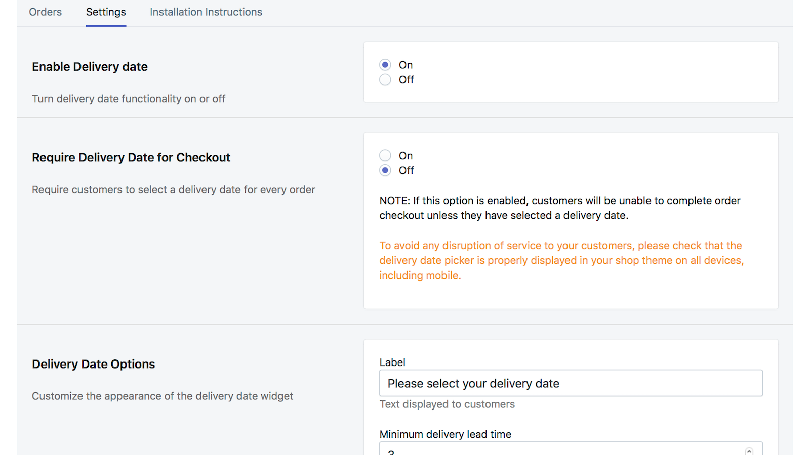 settings page snippet