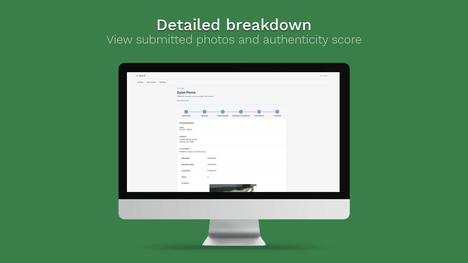 View the complete breakdown of ID photos & authenticity scores